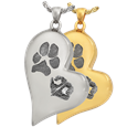 Paw and Nose Prints on teardrop heart pendant