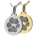 Paw print round pendant in silver or gold metal