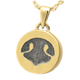 Ash-holding Petite Round Noseprint Gold Jewelry