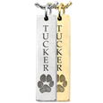 vertical bar pet urn jewelry engraved with actual paw print