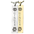 Nose and Paw Prints vertical bar pendant