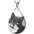 Sterling Silver Photo Laser Engraved Slide Teardrop Pet Jewelry