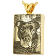 Pet Photo Laser Engraved onto 14k yellow gold Rectangle Jewelry