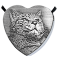 custom pet photo engraved onto stainless steel heart pendant