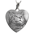 heart jewelry with cat photo