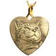 custom pet photo engraved onto 14k yellow gold heart charm