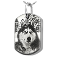 custom pet photo engraved onto sterling silver dog tag urn pendant
