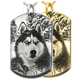 custom pet photo engraved onto dog tag pendant