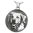 custom pet photo on sterling silver simple round jewelry