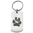 Stainless Steel Dog Tag Paw Print Pet Memorial Key Ring