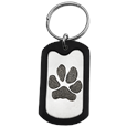 Stainless Steel Dog Tag Paw Print Pet Memorial Key Ring and rubber silencer
