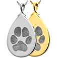 Teardrop no chamber pendant with engraved paw print in silver or gold