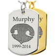 Dog Tag Nose Print Pet Memorial Jewelry shown in silver and gold metal