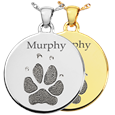 Round Disc Paw Print Pet Memorial Jewelry in silver and gold
