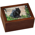 Medium Wooden Cat Urn holds Photo and Shelf