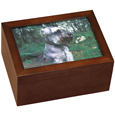Medium Wooden Dog Urn With Photo and Shelf