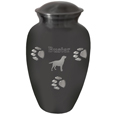 Paw Print Cremation Large Urn shown with engraved silhouette and name