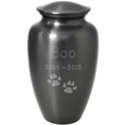 Large Cat Urn - Simple Grey shown with cat paws clip art engraving