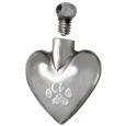 open threaded top shown on heart paw print pet cremation jewelry