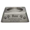 Square Pet Urn Base Matte Pewter shown with cat engraving