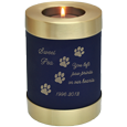 Pet Memorial Urn Keepsake Votive Candle Holder shown engraved with candle