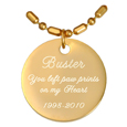 Engraved Gold-plated Round Pendant with chain script font