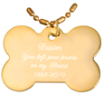 Engraved Gold-plated Bone Pendant with chain script text