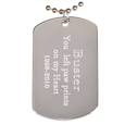 Engraved Rhodium-plated Dog Tag Pendant with chain block font