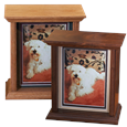 oak and walnut picture frame pet urn