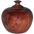 Walnut Wood Round Pet Urn