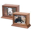 wood pet urn with photo window for cats or dogs