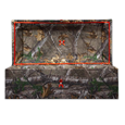 wood pet casket in cloth covered green camo print