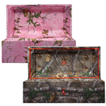 cloth covered wood pet casket in camoflauge