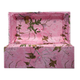 cloth covered wood pet casket in pink camo
