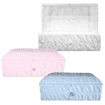 crepe covered wood pet casket in white, pink or blue