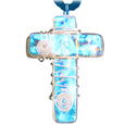 Pet Memorial Glass Urn Jewelry Cross Soothing Blue