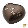 bronze heart pet urn with paw prints