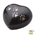 midnight heart pet urn with paw prints
