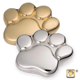 Paw Keepsake Urn in brass or silver
