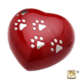 silver paw prints on red heart pet urn