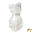 princess cat urn in white