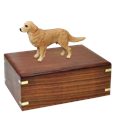 Golden Retriever Figurine Wood Urn