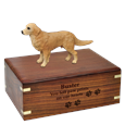 Golden Retriever Figurine Wood Urn with engraved front