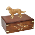Golden Retriever Figurine Wood Urn with engraved front with gold fill