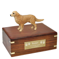 Golden Retriever Figurine Wood Urn with engraved plaque