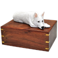 White German Shepherd Figurine Wood Urn- Laying