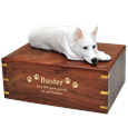 White German Shepherd Figurine Wood Urn engraved with gold fill