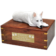 White German Shepherd Figurine Wood Urn- Laying with plaque
