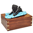 Black Pug on Blanket Wood Urn