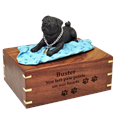 Black Pug on Blanket Wood Urn with engraved front